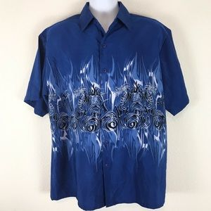 Extreme Gear Dragon Pattern Shirt Blue L